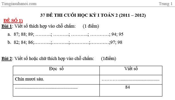 Đề thi ôn tập Toán và tiếng Việt cho học sinh lớp 2 học kì 1