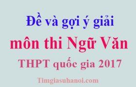 Đề và gợi ý môn Ngữ Văn kỳ thi THPT quốc gia 2017