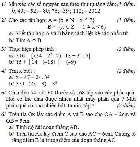 Đề kiểm tra môn Toán lớp 6 học kì 1 có đáp án-1