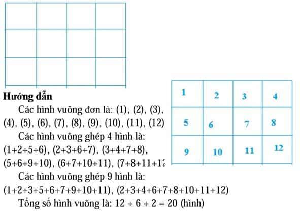 Phương pháp đếm hình tam giác, hình vuông, hình chữ nhật-4
