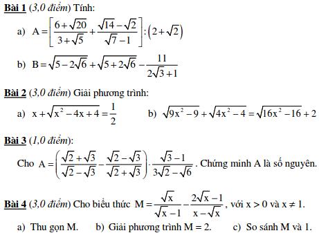 10 Đề kiểm tra Đại số 9 chương 1-2