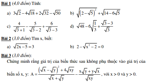 10 Đề kiểm tra Đại số 9 chương 1-3