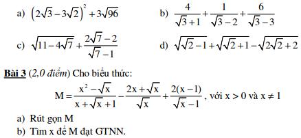10 Đề kiểm tra Đại số 9 chương 1-7.2