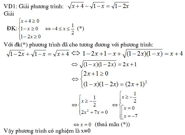 4 phương pháp giải phương trình vô tỷ - Trung tâm Gia sư Hà Nội-1