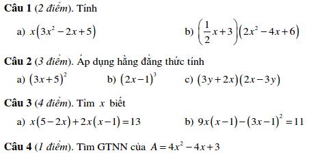 Đề kiểm tra Đại số 8 chương 1 THCS Đức Trí tp.HCM