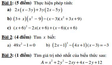 Đề kiểm tra Đại số 8 chương 1 THCS Nguyễn Du tp.HCM