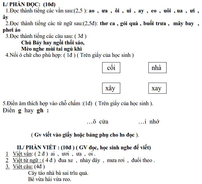 Đề kiểm tra học kỳ I tiếng Việt 1 tiểu học Ta Niết năm 2009 - 2010