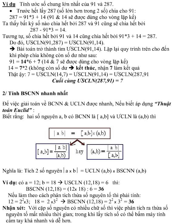 Áp dụng Thuật toán Euclid tính nhanh ước chung lớn nhất & Bội số chung nhỏ nhất-2