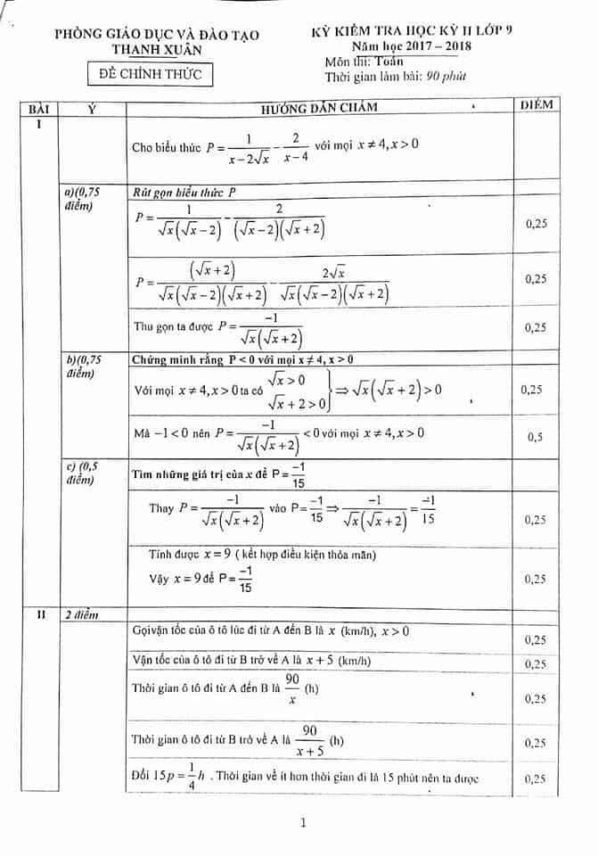 Đề kiểm tra học kì 2 môn Toán 9 quận Thanh Xuân 2017 - 2018 có đáp án-1
