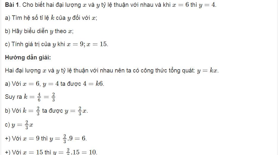Ôn tập phần Hàm số và Đồ thị trong toán lớp 7 cơ bản