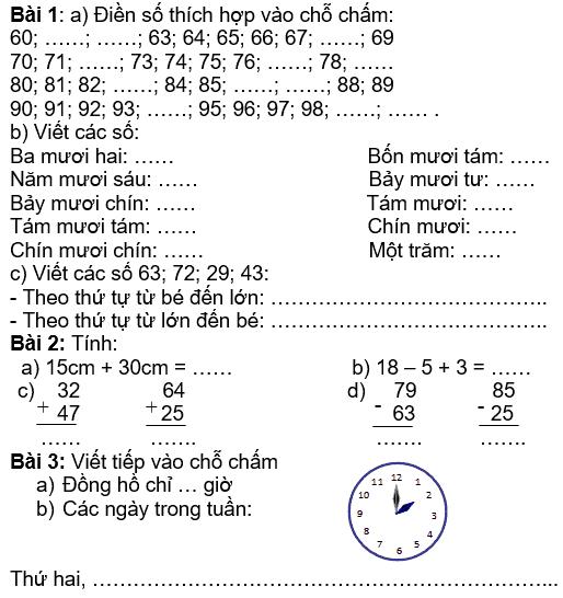 Bộ đề ôn tập hè lớp 1 lên lớp 2 môn Toán-6