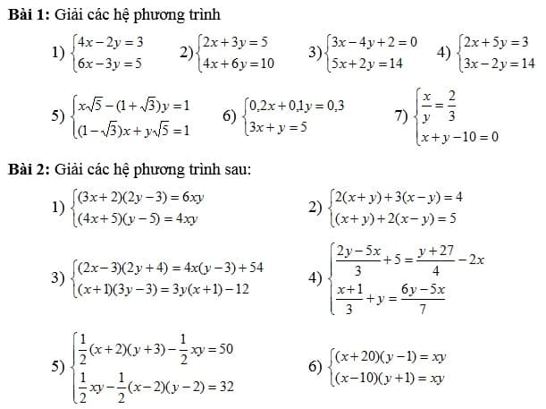Chuyên đề hệ phương trình bậc nhất hai ẩn số