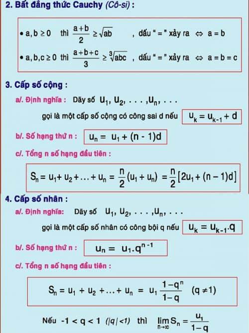 Công thức Đại số và lượng giác luyện thi THPT quốc gia