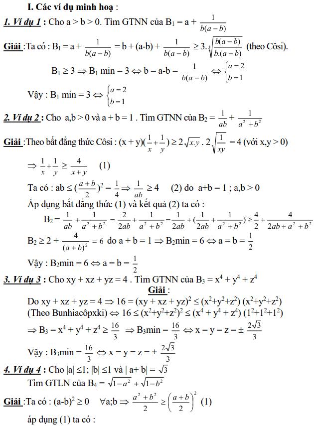 Sử dụng các bất đẳng thức cơ bản để tìm GTLN, GTNN của biểu thức
