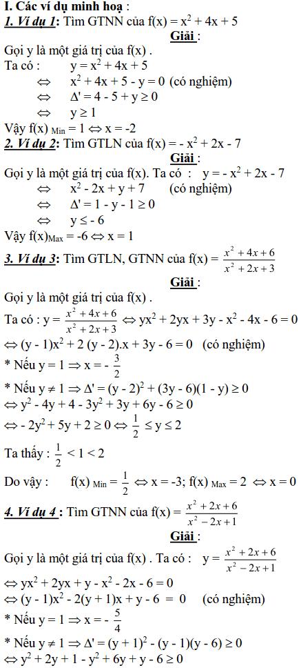 Sử dụng phương pháp miền giá trị để tìm GTLN, GTNN của biểu thức