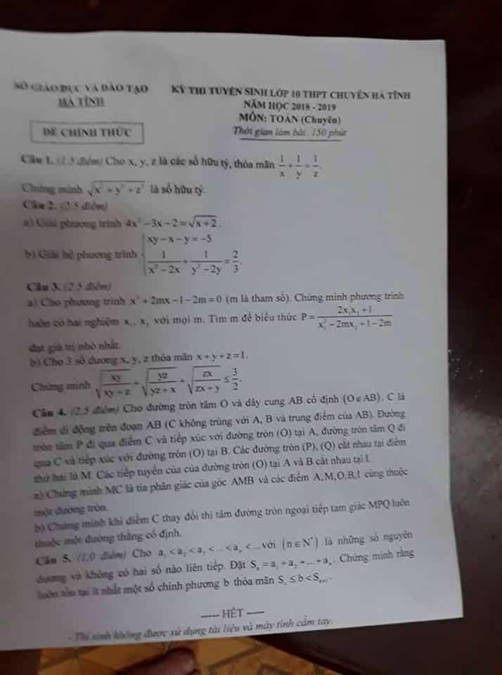 Đề thi vào 10 môn Toán THPT chuyên Hà Tĩnh 2018