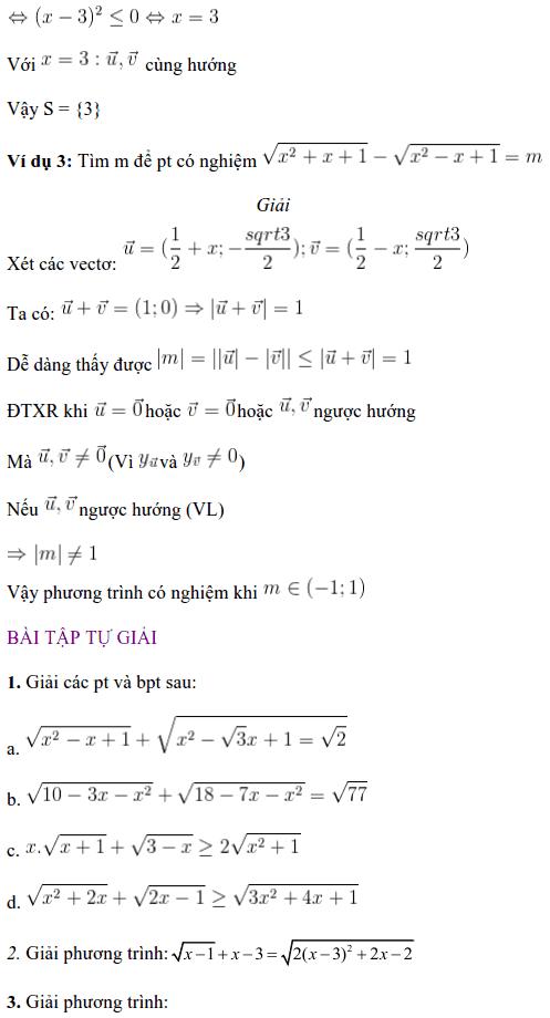 Giải phương trình vô tỉ bằng phương pháp vectơ-1