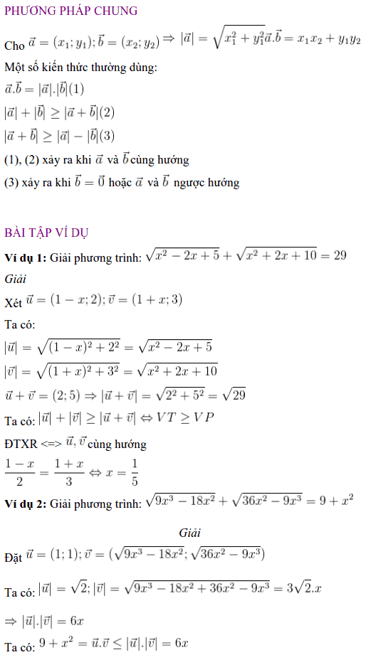 Giải phương trình vô tỉ bằng phương pháp vectơ