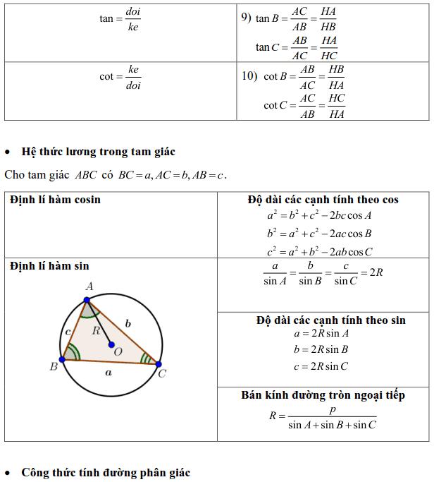 Tổng hợp các công thức trong Hình học 10-1