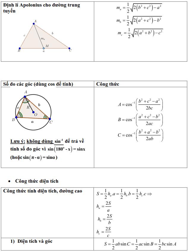 Tổng hợp các công thức trong Hình học 10-3