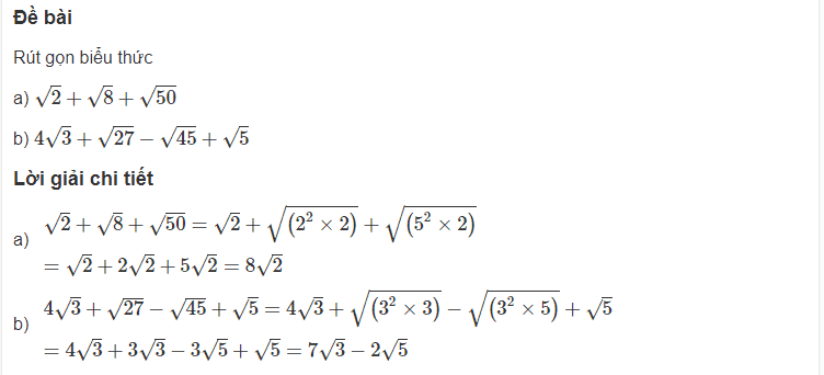 Cách rút gọn biểu thức chứa căn thức bậc hai