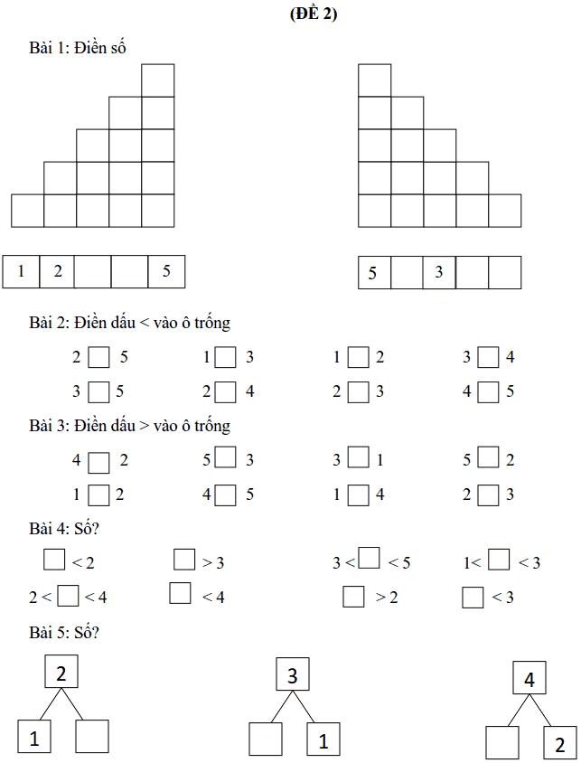 Phiếu bài tập tuần 3 - Toán lớp 1-1