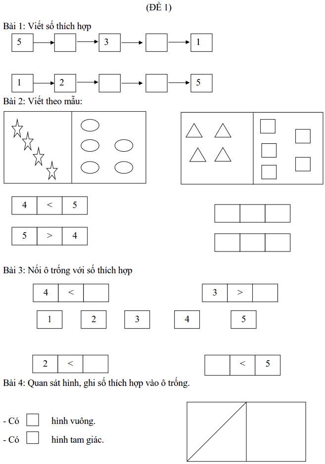 Phiếu bài tập tuần 3 - Toán lớp 1