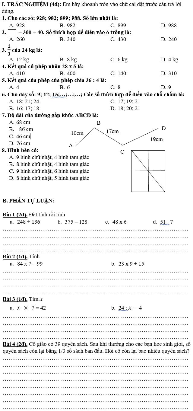 Đề kiểm tra giữa kì 1 Toán lớp 3 tiểu học Phan Bội Châu 2018-2019