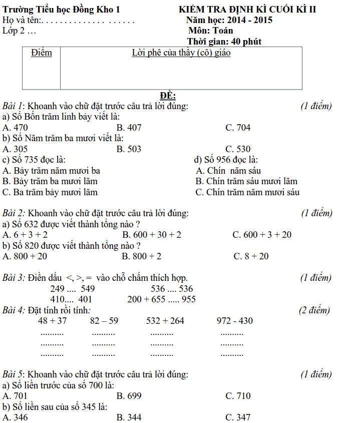 Đề cương ôn tập HK2 môn Toán và tiếng Việt lớp 2-5