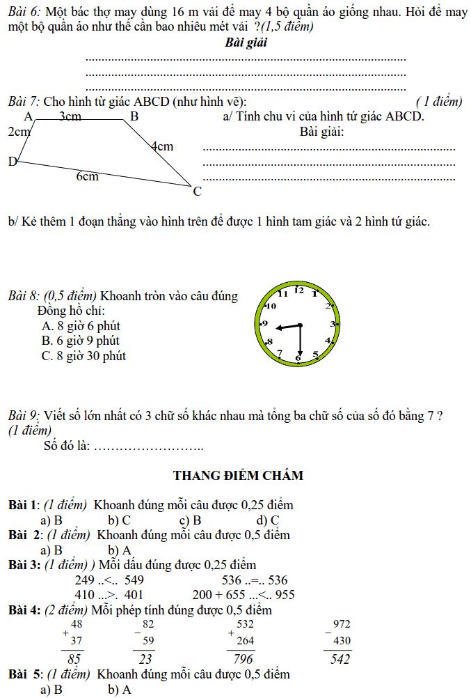 Đề cương ôn tập HK2 môn Toán và tiếng Việt lớp 2-6