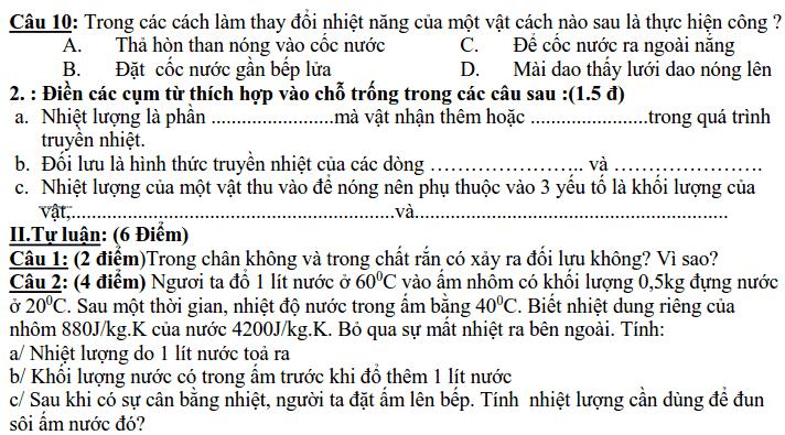 Đề kiểm tra HK2 môn Vật lý 8 THCS Trần Phú 2017-2018 có đáp án-1