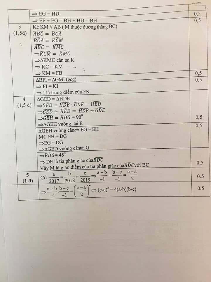 Đề thi HSG môn Toán 7 huyện Thanh Trì năm 2018-2019 có đáp án