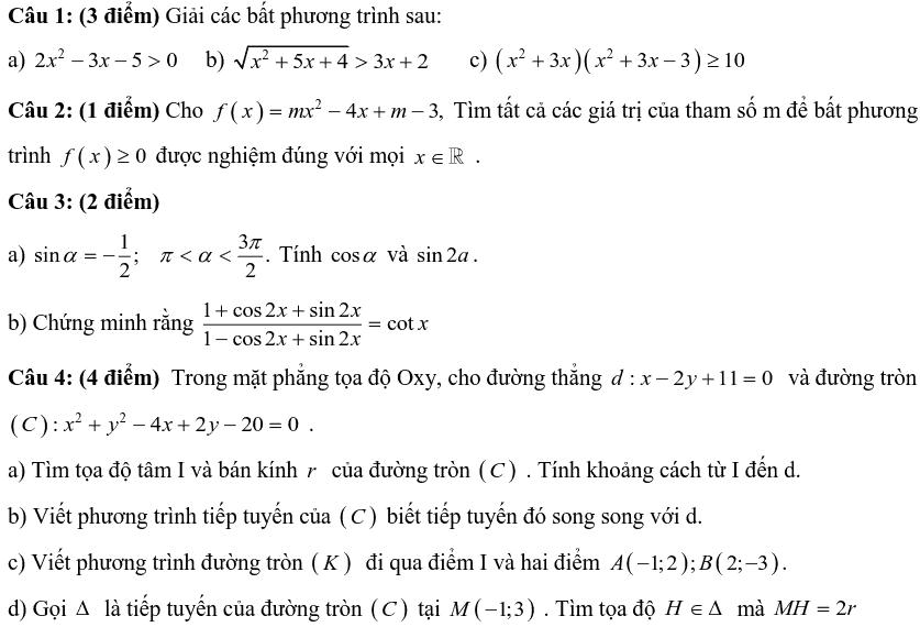 Đề thi HK2 môn Toán lớp 10 THPT Trần Hưng Đạo 2018-2019 có đáp án