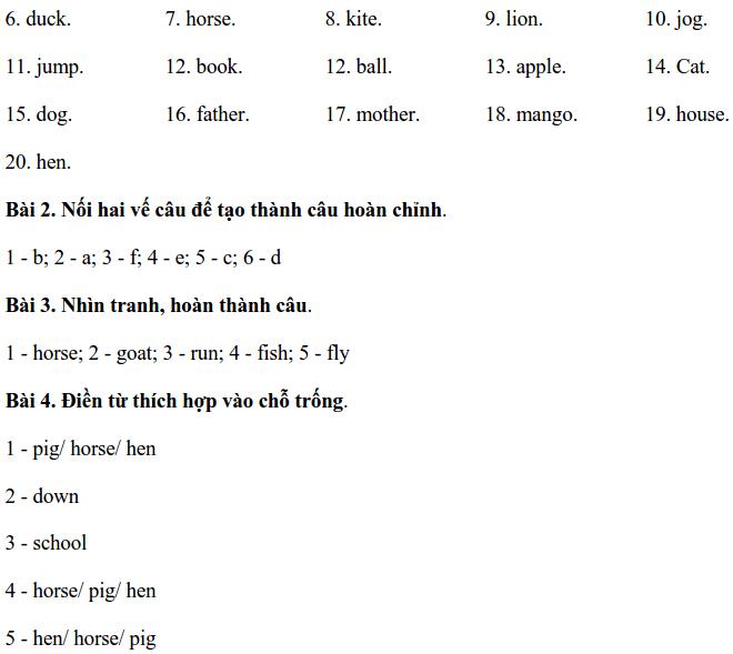Đề thi HK1 môn tiếng Anh lớp 1 năm 2019-2020 có đáp án-2