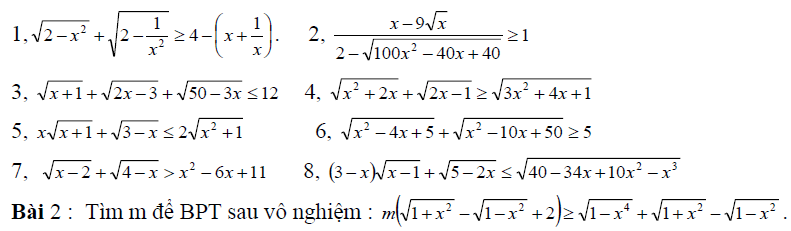 Cách giải bất phương trình vô tỷ chứa căn
